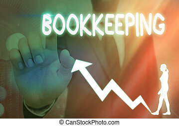 Conceptual hand writing showing Bookkeeping. Business photo text keeping records of the financial affairs of a business Arrow symbol going upward showing significant achievement.