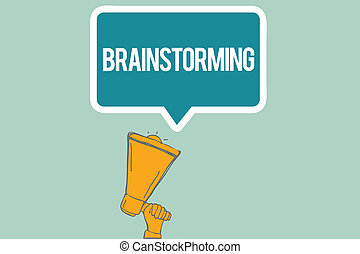 Conceptual hand writing showing Brainstorming. Business photo text Hold a group discussion to produce ideas team work Meeting