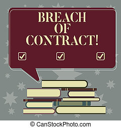 Conceptual hand writing showing Breach Of Contract. Business photo showcasing act of breaking the terms set out in deal or agreement Uneven Pile of Hardbound Books and Rectangular Speech Bubble.