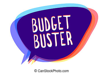 Conceptual hand writing showing Budget Buster. Business photo text Carefree Spending Bargains Unnecessary Purchases Overspending Speech bubble idea message reminder shadows important intention.