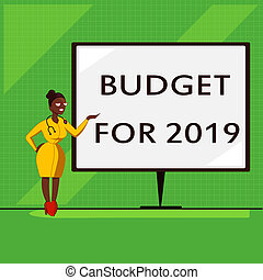 Conceptual hand writing showing Budget For 2019. Business...
