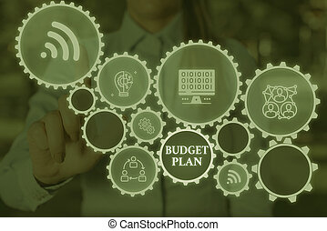 Conceptual hand writing showing Budget Plan. Business photo showcasing financial schedule for a defined period of time usually year Woman wear work suit presenting presentation smart device.