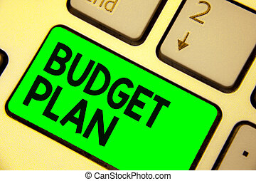 Conceptual hand writing showing Budget Plan. Business photo showcasing financial schedule for a defined period of time usually year Keyboard green key computer computing reflection document.