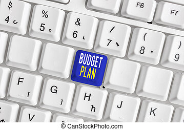 Conceptual hand writing showing Budget Plan. Business photo text financial schedule for a defined period of time usually year White pc keyboard with note paper above the white background.