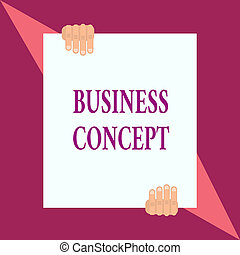 Conceptual hand writing showing Business Concept. Business photo showcasing new product approach to marketing or delivering it Two hands hold one big white paper placed on top and bottom.