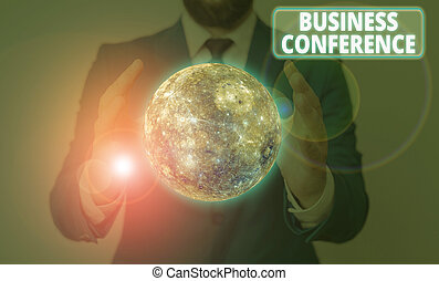 Conceptual hand writing showing Business Conference. Business photo showcasing discuss trends and opportunity relating to the business Elements of this image furnished by NASA.