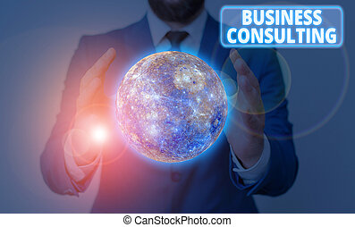 Conceptual hand writing showing Business Consulting. Business photo showcasing practice of helping organizations improve perforanalysisce Elements of this image furnished by NASA.