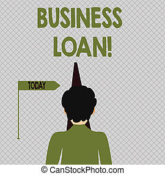Conceptual hand writing showing Business Loan. Business photo text Loans provided to small businesses for various purposes Man Facing Distance and Blocking the View of Straight Narrow Path.