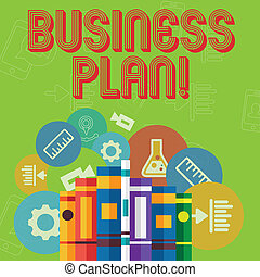Conceptual hand writing showing Business Plan. Business photo text setting out business future objectives for achieving them Books Arranged Standing in Row with Educational Icons Behind.