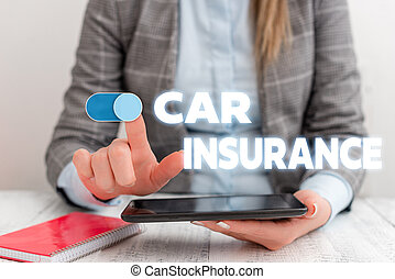 Conceptual hand writing showing Car Insurance. Business photo showcasing Accidents coverage Comprehensive Policy Motor Vehicle Guaranty Business concept with communication mobile phone.