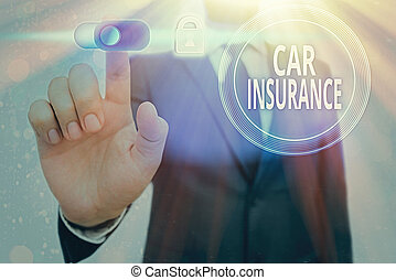 Conceptual hand writing showing Car Insurance. Business photo text Accidents coverage Comprehensive Policy Motor Vehicle Guaranty.