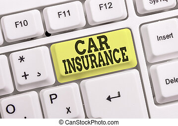 Conceptual hand writing showing Car Insurance. Concept meaning Accidents coverage Comprehensive Policy Motor Vehicle Guaranty White pc keyboard with note paper above the white background