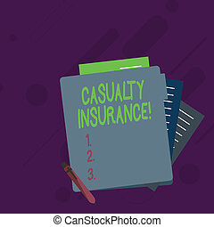 Conceptual hand writing showing Casualty Insurance. Business photo showcasing overage against loss of property or other liabilities Lined Paper Stationery Partly into View from Pastel Folder.