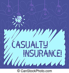 Conceptual hand writing showing Casualty Insurance. Business photo text overage against loss of property or other liabilities Transparent Bulbs Hanging with Filament and One Lighted Icon.