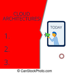 Conceptual hand writing showing Cloud Architectures. Business photo text Various Engineered Databases Softwares Applications Geometrical background man chest holding megaphone speech bubble.
