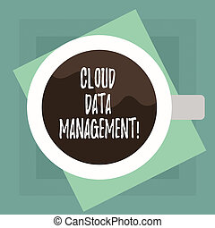 Conceptual hand writing showing Cloud Data Management. Business photo text A technique to analysisage data across cloud platforms Top View of Drinking Cup Filled with Beverage on Color Paper.