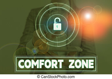 Conceptual hand writing showing Comfort Zone. Concept meaning place or situation where one feels safe and without stress