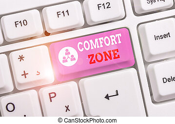 Conceptual hand writing showing Comfort Zone. Concept meaning place or situation where one feels safe and without stress White pc keyboard with note paper above the white background