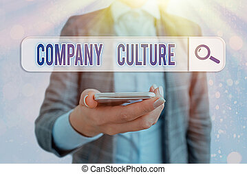 Conceptual hand writing showing Company Culture. Concept meaning The environment and elements in which employees work