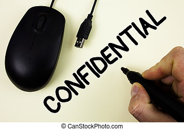 Conceptual hand writing showing Confidential. Business photo...