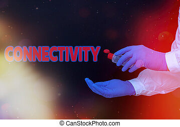 Conceptual hand writing showing Connectivity. Business photo...