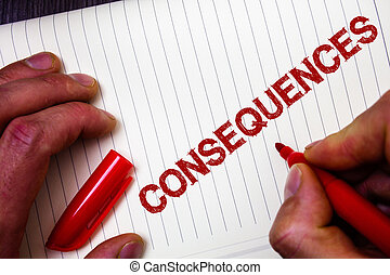 Conceptual hand writing showing Consequences. Business photo...