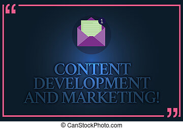 Conceptual hand writing showing Content Development And Marketing. Business photo text Social media advertising optimization Open Envelope with Paper Email Message inside Quotation Mark.