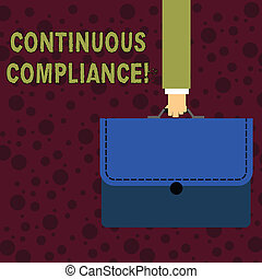 Conceptual hand writing showing Continuous Compliance. Business photo text proactively maintaining a safe health care environment Businessman Carrying Colorful Briefcase Portfolio Applique.
