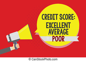 Conceptual hand writing showing Credit Score Excellent Average Poor. Business photo text Level of creditworthness Rating Report Man holding megaphone loudspeaker yellow bubble on red background.