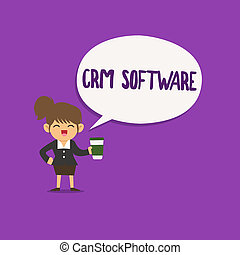 Conceptual hand writing showing Crm Software. Business photo...