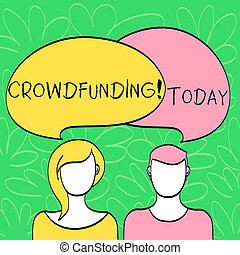 Conceptual hand writing showing Crowdfunding. Business photo...