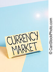 Conceptual hand writing showing Currency Market. Business photo showcasing over the counter market for the trading of currencies Paper on buffer wire on soft pastel multi colours backdrop.
