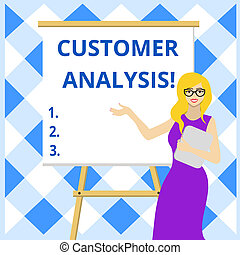 Conceptual hand writing showing Customer Analysis. Business photo showcasing systematic examination of a company s is customer information Female in Glasses Standing Whiteboard on Stand Presentation.