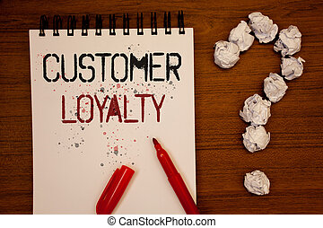 Conceptual hand writing showing Customer Loyalty. Business photo showcasing Client Satisfaction Long-Term relation Confidence Ideas on notebook wooden background quotation mark.