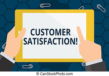 Conceptual hand writing showing Customer Satisfaction. Business photo showcasing Measure of customers fulfillment from a firm Hand Holding Pointing Touching Color Tablet White Screen.