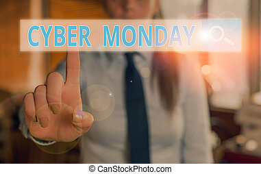 Conceptual hand writing showing Cyber Monday. Business photo showcasing Monday after the Thanksgiving holiday Online shopping day.