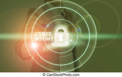 Conceptual hand writing showing Cyber Monday. Business photo text Monday after the Thanksgiving holiday Online shopping day.