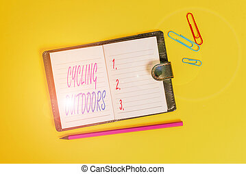 Conceptual hand writing showing Cycling Outdoors. Business ...