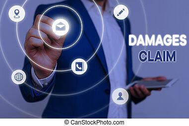 Conceptual hand writing showing Damages Claim. Business photo text Deanalysisd Compensation Litigate Insurance File Suit.