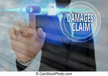 Conceptual hand writing showing Damages Claim. Business photo text Demand Compensation Litigate Insurance File Suit.