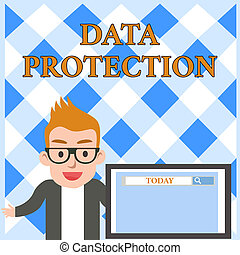 Conceptual hand writing showing Data Protection. Business photo text Protect IP addresses and demonstratingal data from harmful software Male Speaker Screen with Search Tool on Screen Presentation.