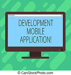 Conceptual hand writing showing Development Mobile Application. Business photo text Writing software for digital devices Blank Computer Monitor Color Screen Mounted with Progress Bar.