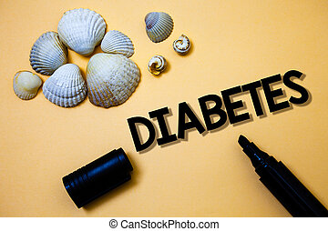 Conceptual hand writing showing Diabetes. Business photo text Chronic disease associated to high levels of sugar glucose in blood Yellow background shadow open marker shells beach memory memories.