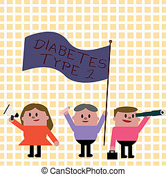 Conceptual hand writing showing Diabetes Type 2. Business photo showcasing condition which body does not use insulin properly