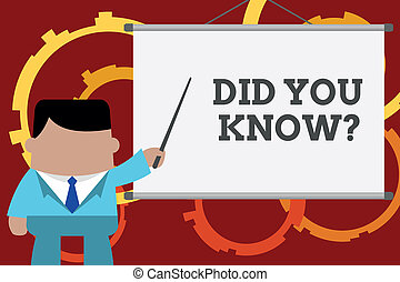 Conceptual hand writing showing Did You Know Question. Business photo text when you are asking someone if they know fact or event Businessman in front projector screen pointing project idea.