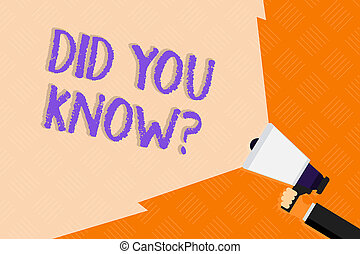 Conceptual hand writing showing Did You Know Question. Business photo text when you are asking someone if they know fact or event Hand Holding Megaphone with Wide Beam Extending the Volume.
