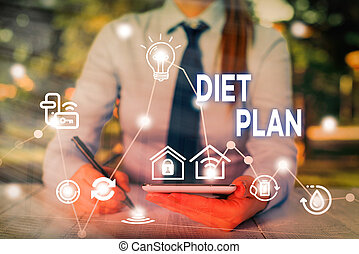 Conceptual hand writing showing Diet Plan. Business photo showcasing detailed proposal for doing or achieving a heathy eating habit.