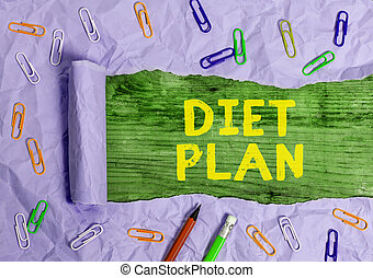 Conceptual hand writing showing Diet Plan. Business photo text detailed proposal for doing or achieving a heathy eating habit.