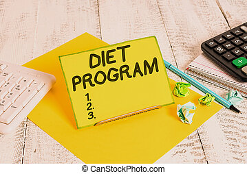 Conceptual hand writing showing Diet Program. Business photo text practice of eating food in a regulated and supervised fashion.