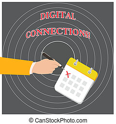 Conceptual hand writing showing Digital Connections. Business photo text Powerful Ways to Connect Online Global High Definition Formal Suit Crosses Off One Day Calendar Red Ink Ballpoint Pen.